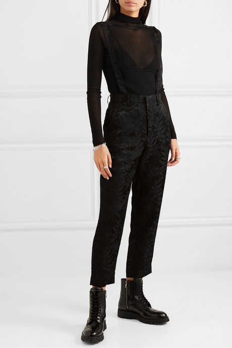 Cropped satin-jacquard tapered pants