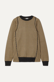 Noir Kei Ninomiya Piped houndstooth silk-jacquard sweater