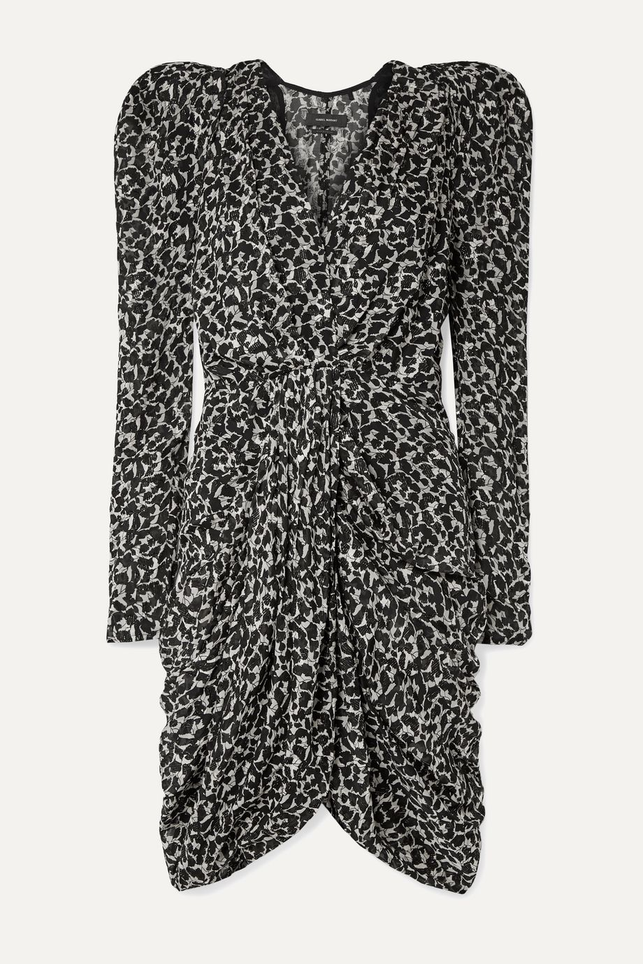 Isabel Marant Issolya ruched printed fil coupé chiffon dress