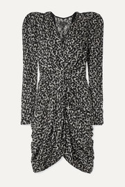 Isabel Marant Issolya ruched printed fil coupé chiffon dress