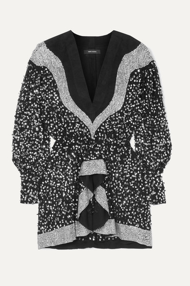 Isabel Marant Dress Caldes sequined-embellished chiffon and cotton mini dress