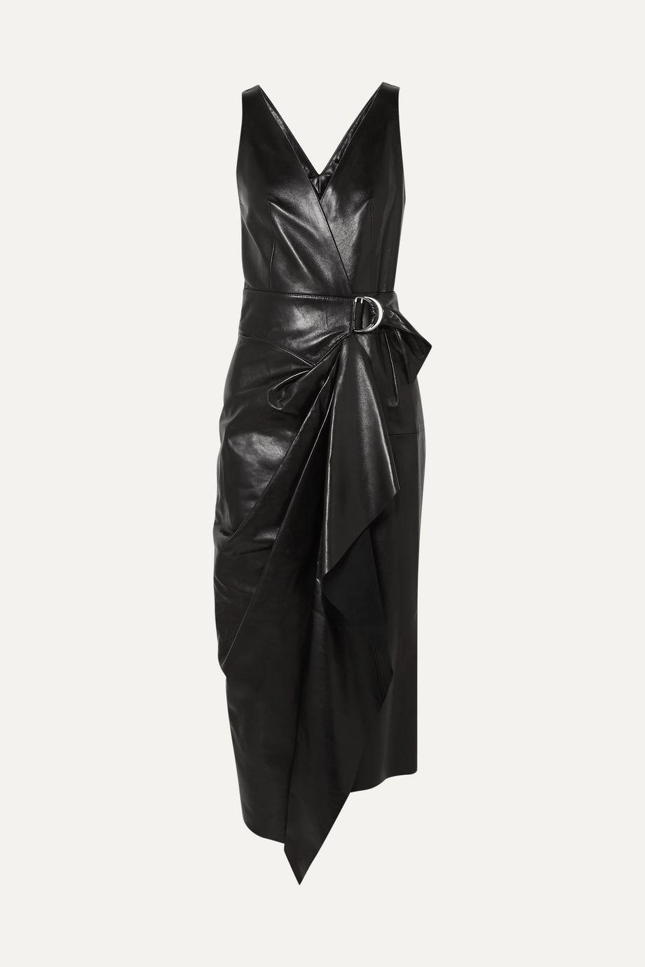 Isabel Marant Fanelia asymmetrisches Midi-Wickelkleid aus Leder