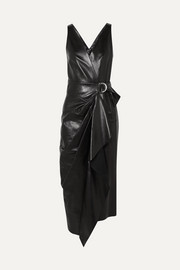 Isabel Marant Fanelia asymmetric wrap-effect leather midi dress