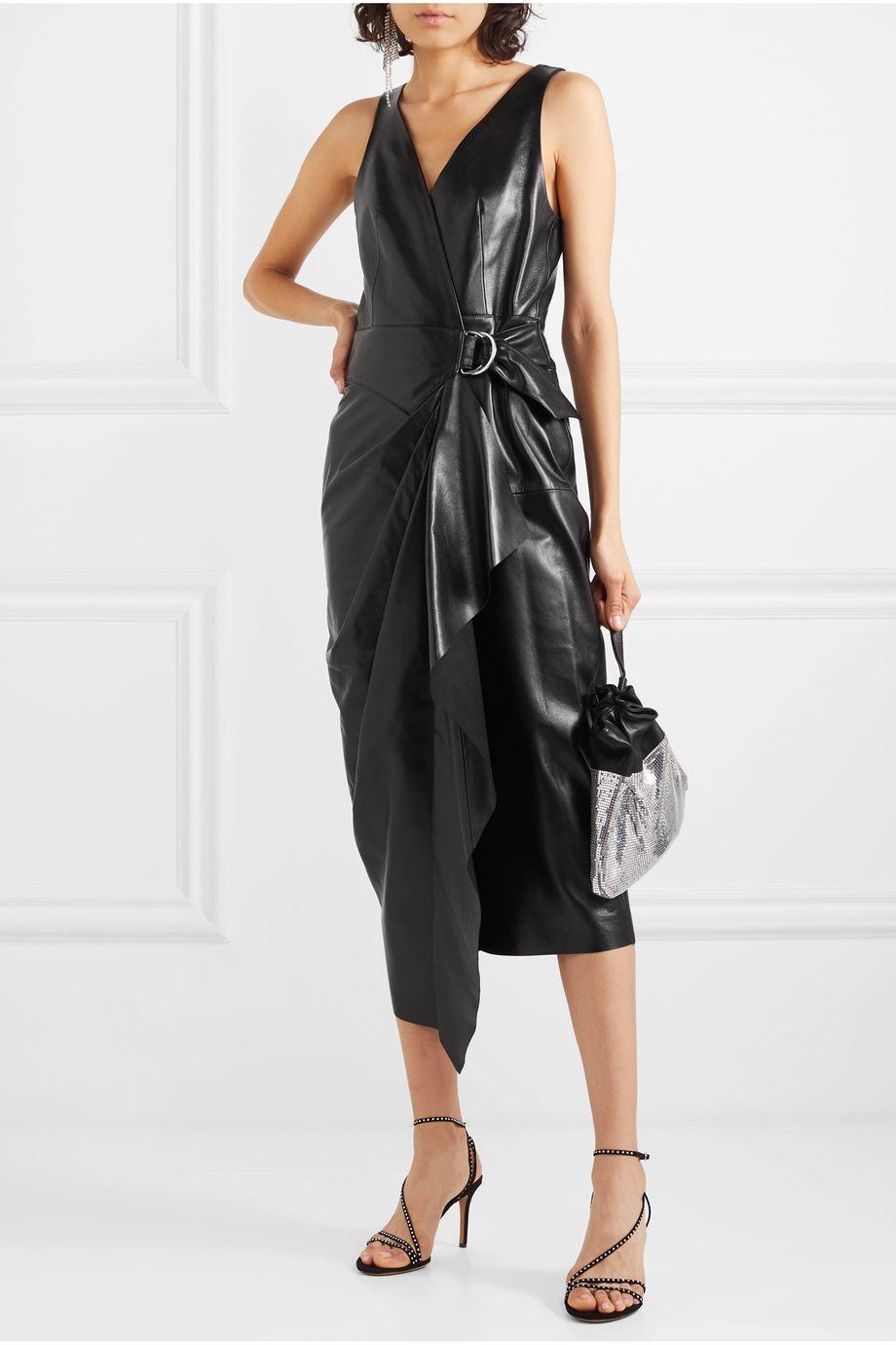 Isabel Marant Fanelia asymmetric wrap-effect leather midi dress