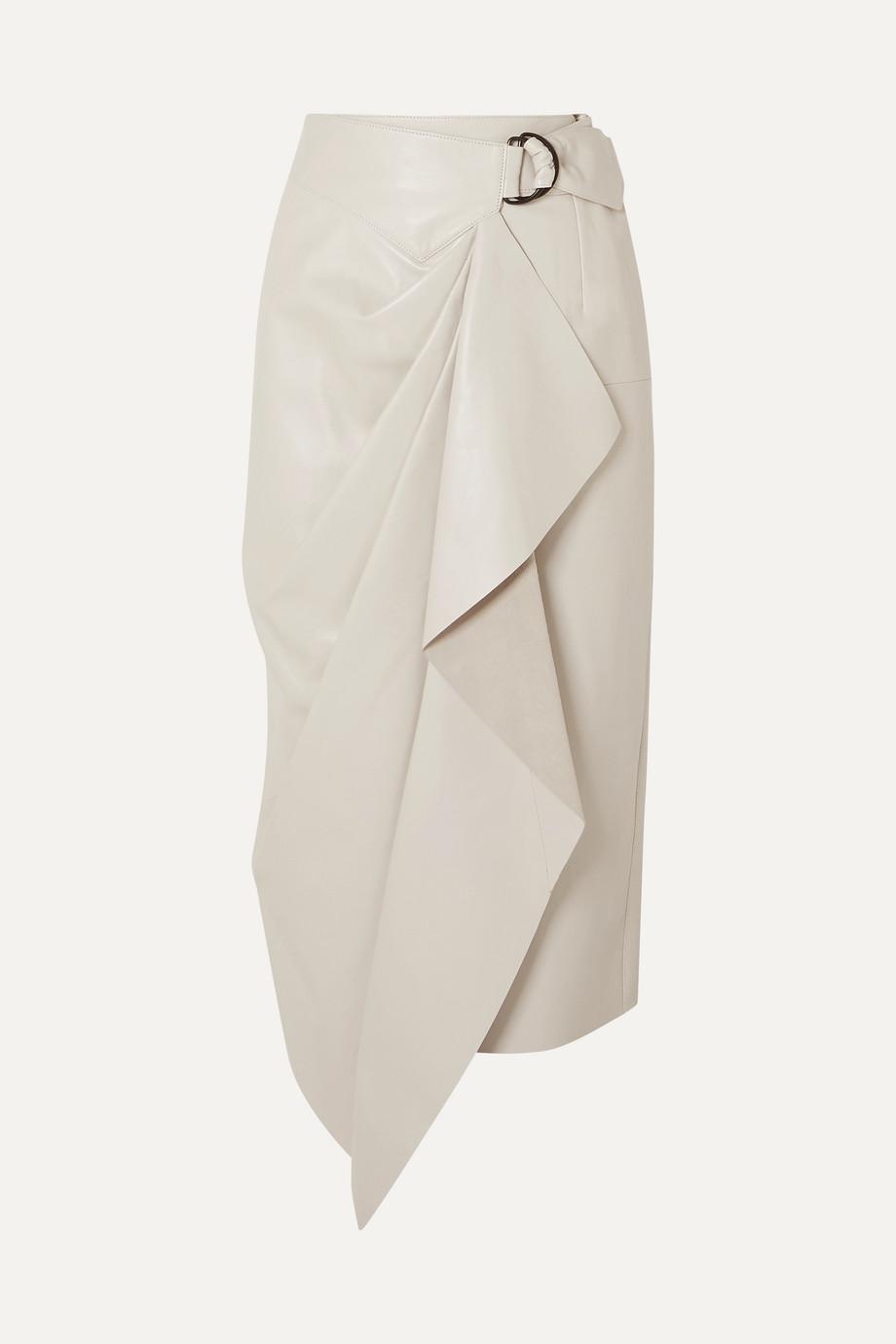 Isabel Marant Fiova 皮革围裹效果中长半身裙
