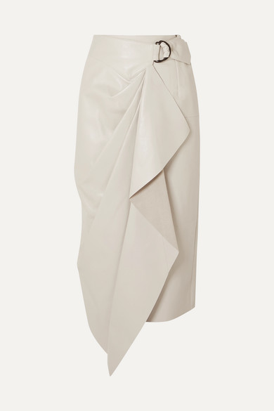 Isabel Marant Skirts Fiova leather wrap-effect midi skirt