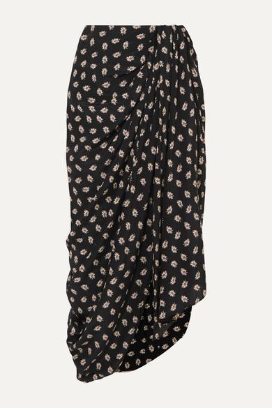 Isabel Marant Skirts Candice draped floral-print silk-crepe midi skirt