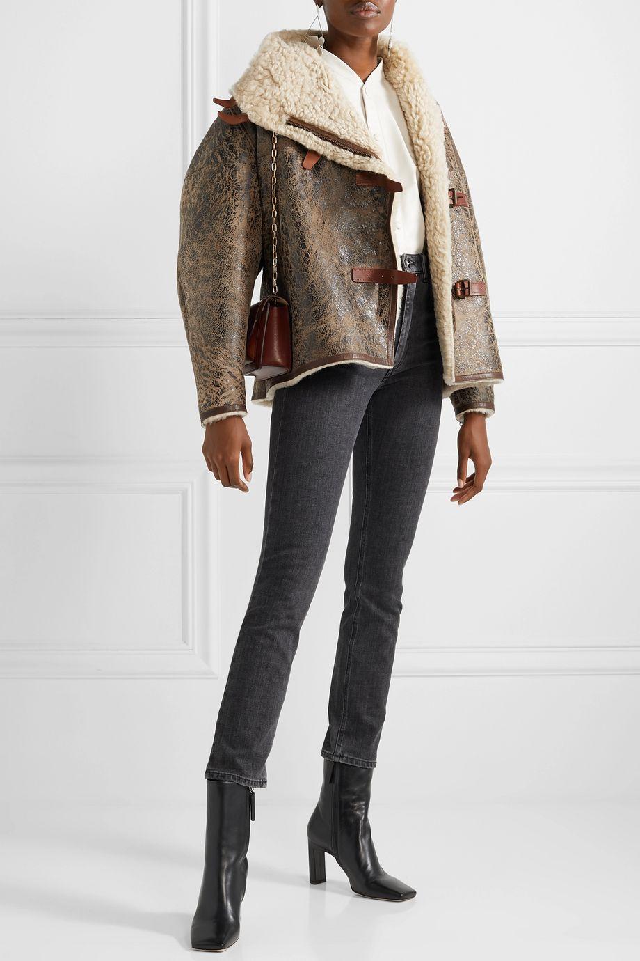 Isabel Marant Abelina leather-trimmed painted shearling jacket