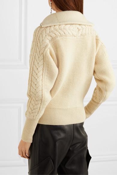 Lenz 绞花针织羊驼毛羊毛混纺开襟衫展示图