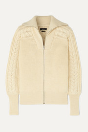 Isabel Marant Lenz cable-knit alpaca and wool-blend cardigan
