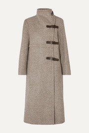 Isabel Marant Natacha leather-trimmed wool-blend coat