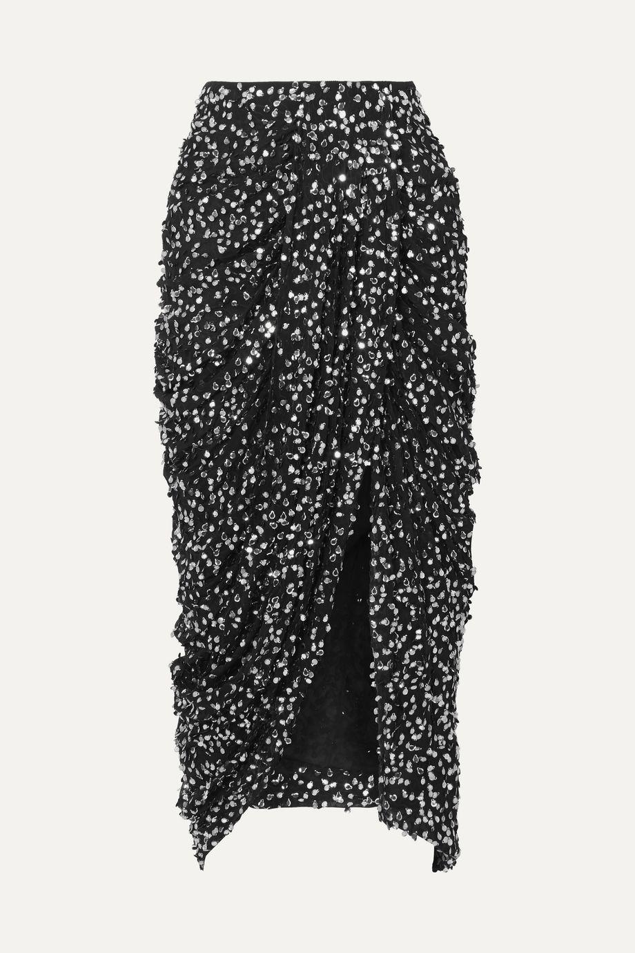 Isabel Marant Calliandra draped sequin-embellished georgette midi skirt