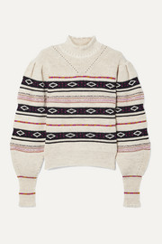 Isabel Marant Conelly pointelle-trimmed intarsia knitted turtleneck sweater