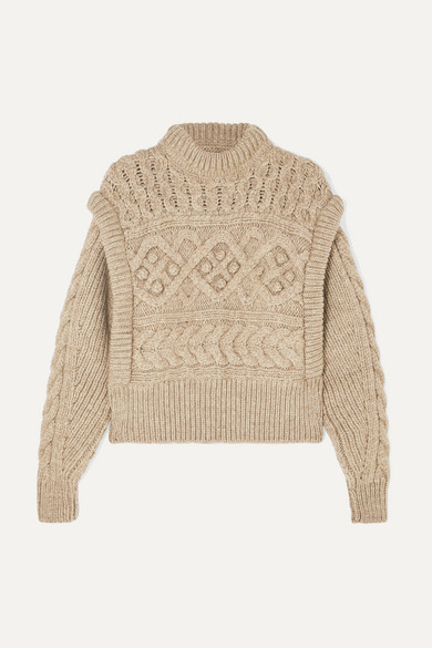 Isabel Marant Knitwear Milane cropped cable-knit merino wool sweater