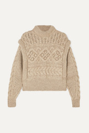 Milane cropped cable-knit merino wool sweater