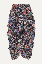 Isabel Marant Betina ruched floral-print stretch-silk crepe de chine skirt