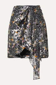 Isabel Marant Ixora draped silk and Lurex-blend jacquard mini skirt