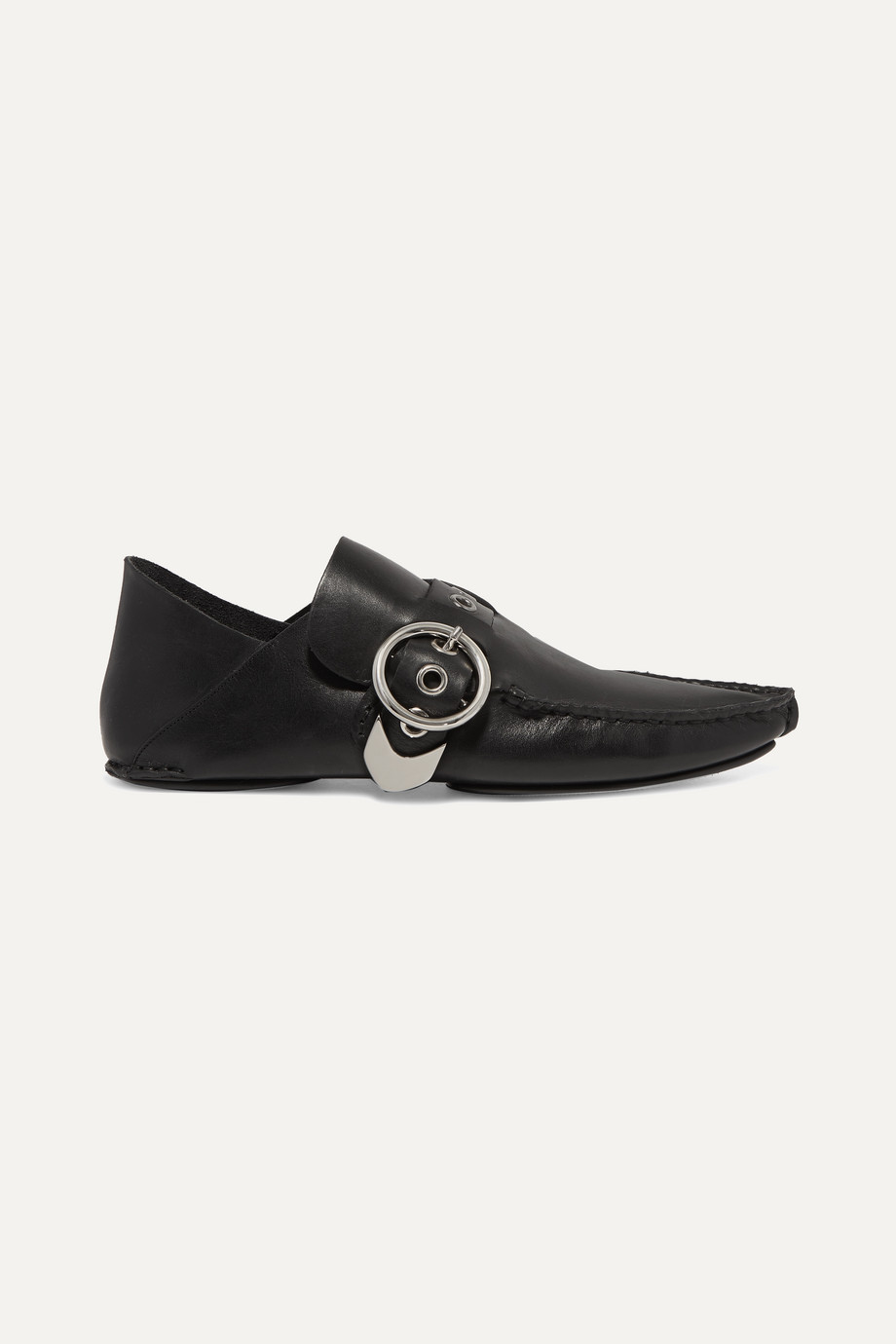 Loewe Buckled collapsible-heel leather loafers