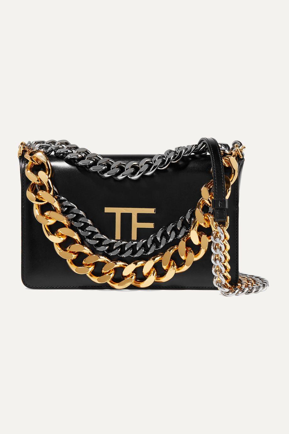 TOM FORD Triple Chain embellished leather shoulder bag