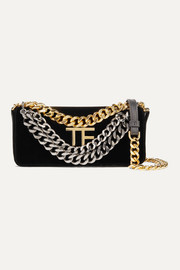 TOM FORD Triple Chain small embellished leather-trimmed velvet shoulder bag