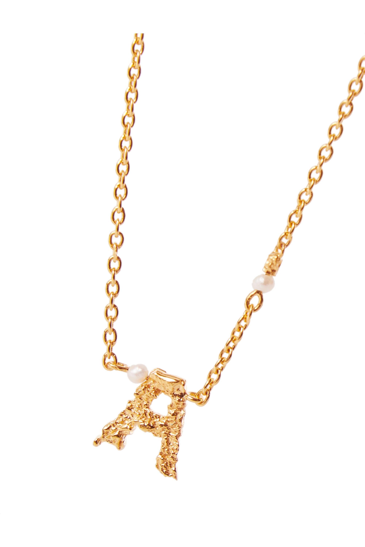 Pacharee Collier en plaqué or et perles Mini Alphabet