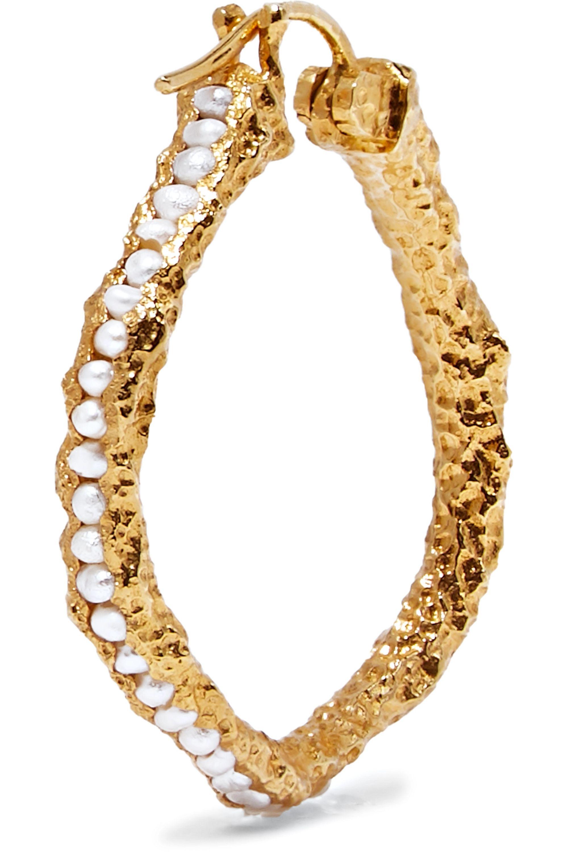Pacharee Medium gold-plated pearl hoop earrings