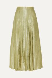 ANNA QUAN Sable pleated crinkled-satin midi skirt