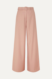 Max belted twill wide-leg pants