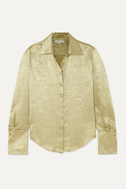 ANNA QUAN Lana crinkled-satin shirt