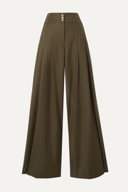 ANNA QUAN Madison pleated twill wide-leg pants