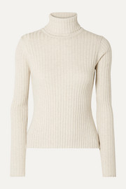 ANNA QUAN Heather ribbed cotton turtleneck top