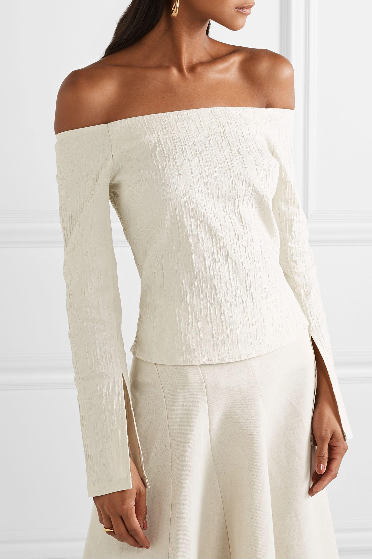 ANNA QUAN Cora off-the-shoulder crinkled stretch-jacquard top