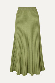 ANNA QUAN Cleo ribbed cotton midi skirt