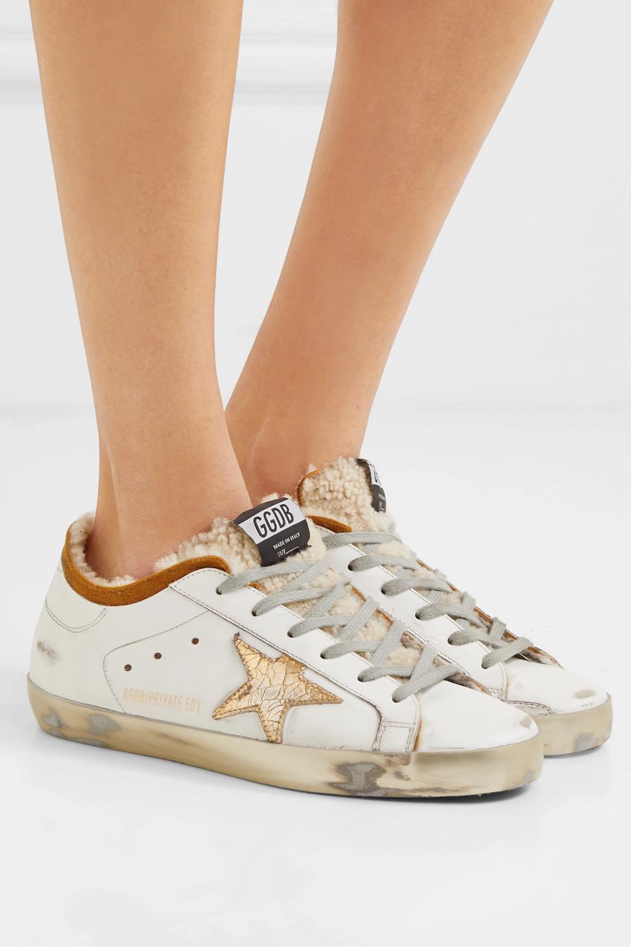 Golden Goose Superstar Sneakers aus Leder mit Shearling-Futter in Distressed-Optik