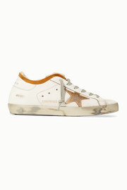 Superstar shearling-lined distressed leather sneakers