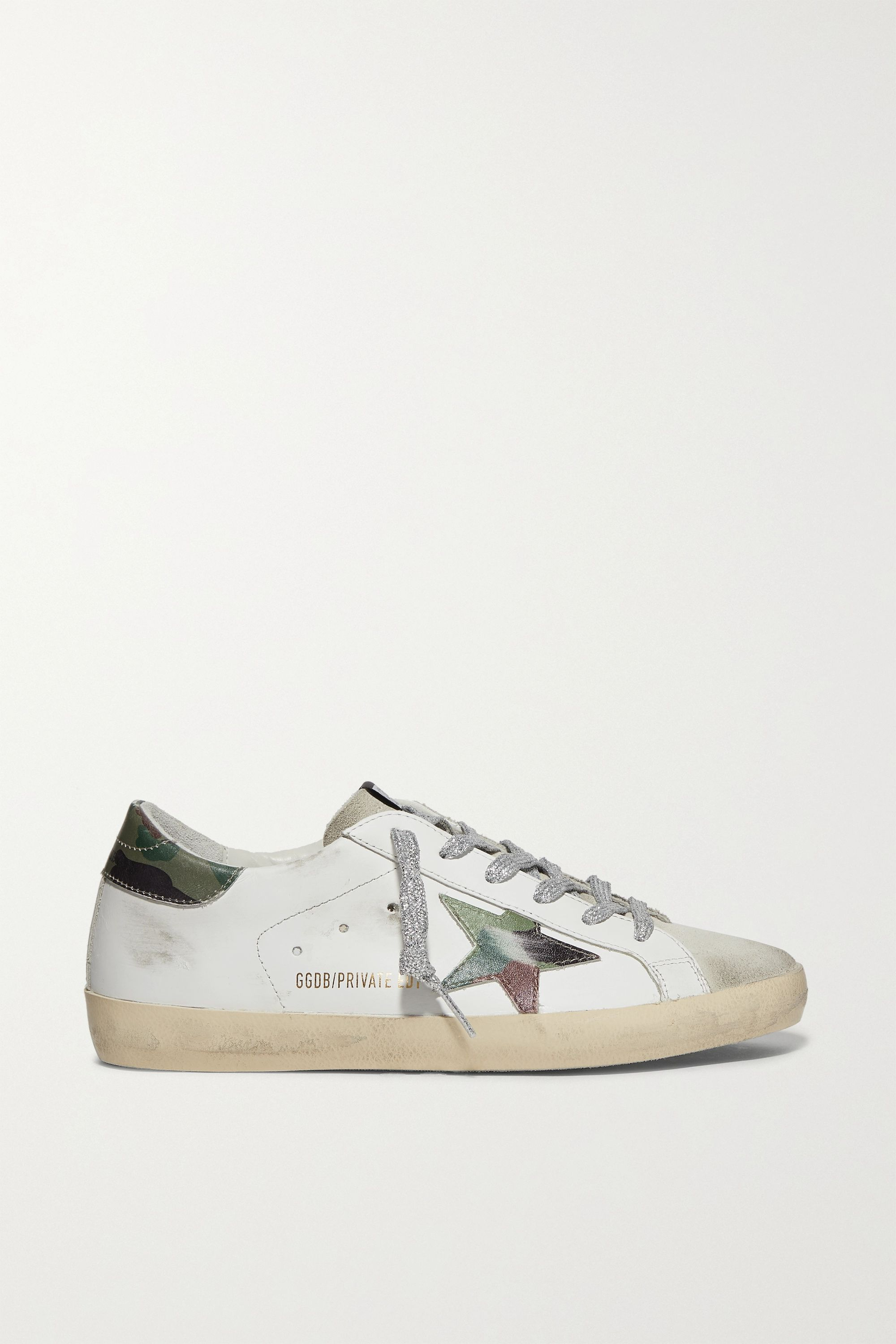 Golden Goose Superstar distressed printed leather and suede sneakers