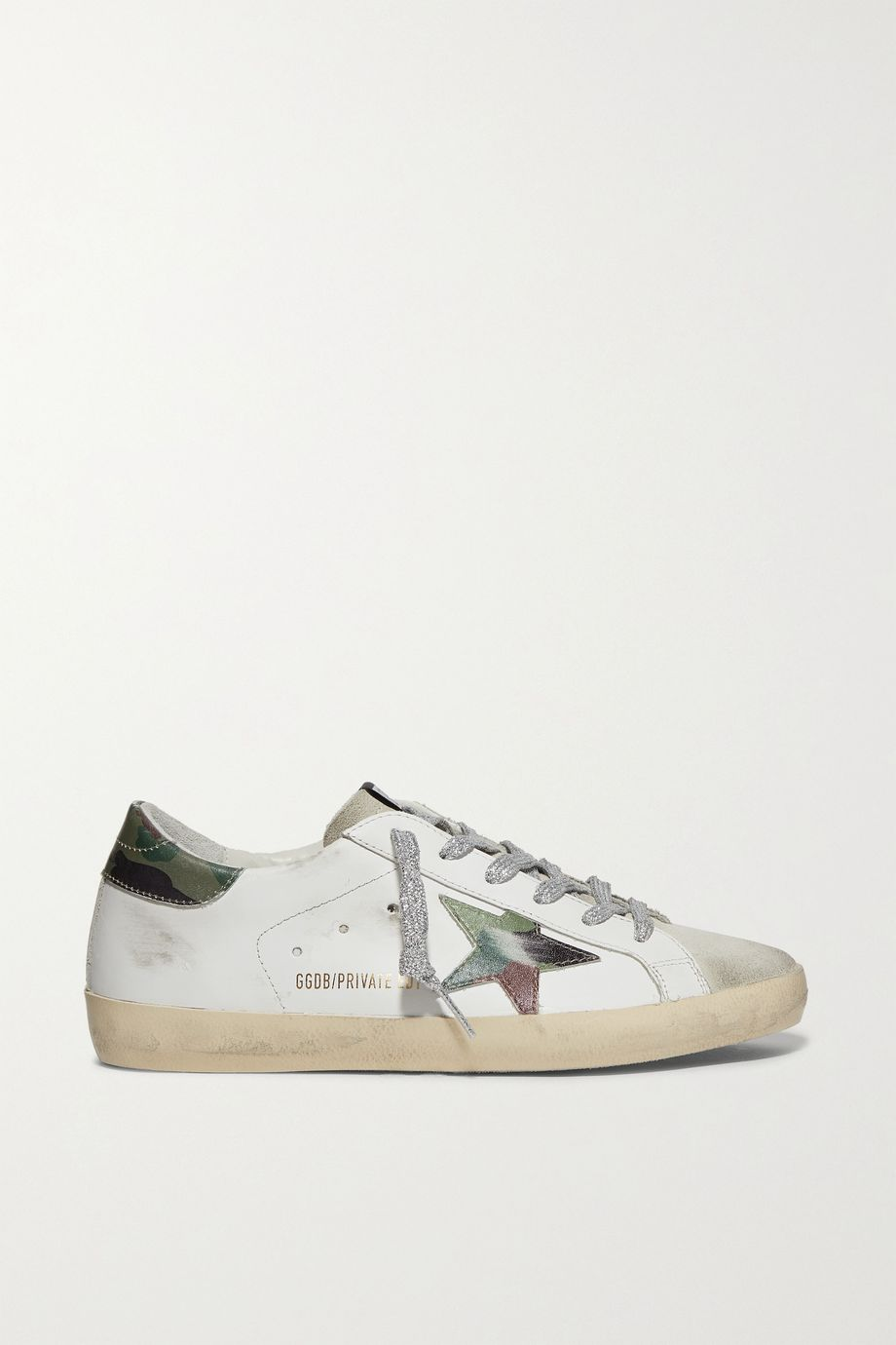 Golden Goose Superstar Sneakers aus Leder und Veloursleder mit Print in Distressed-Optik