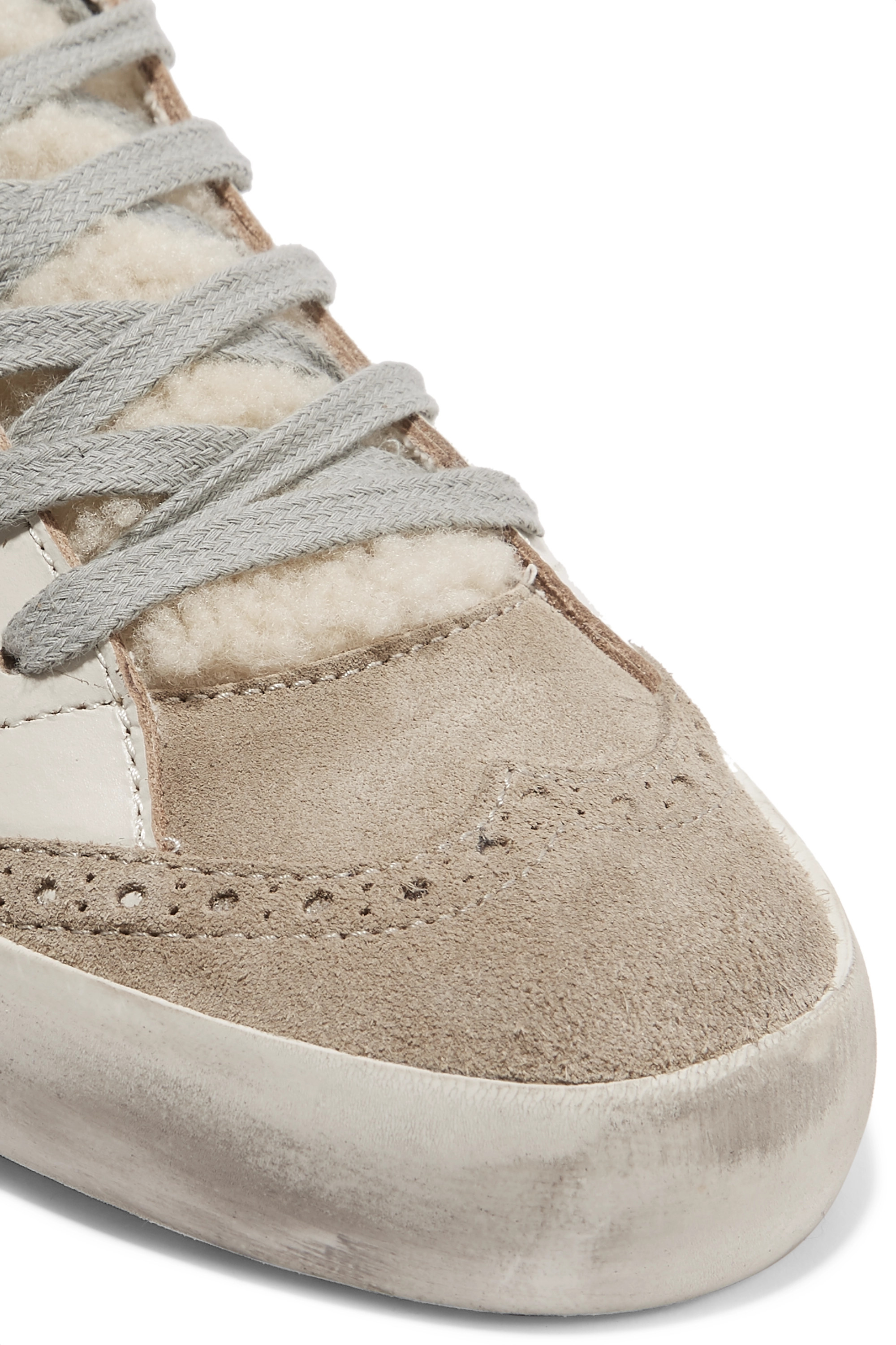 Golden Goose Mid Star distressed leather, suede and shearling sneakers