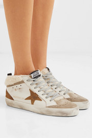 Mid Star distressed leather, suede and shearling sneakers
