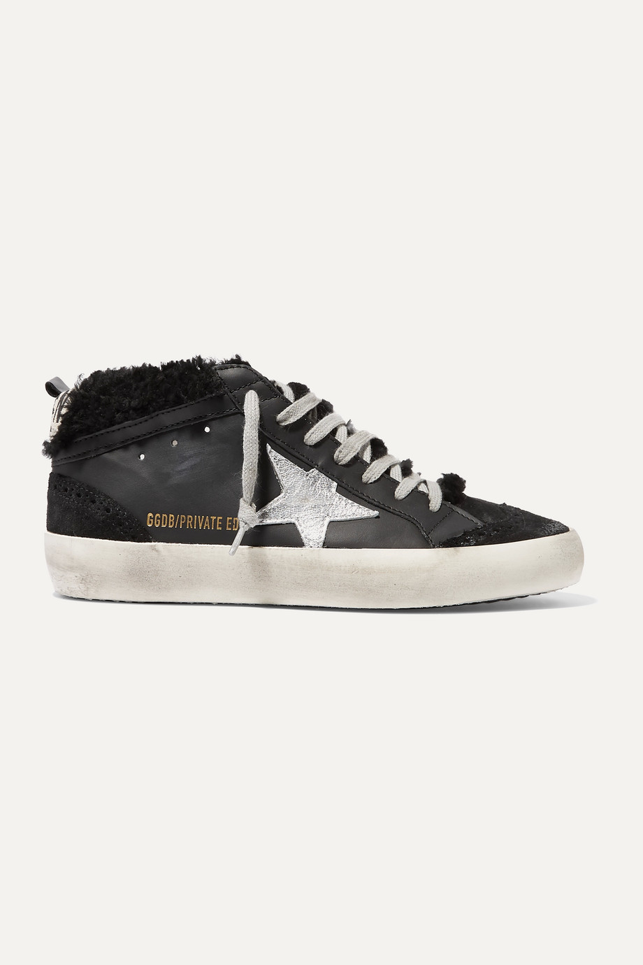 Golden Goose Mid Star shearling-lined distressed leather and suede sneakers