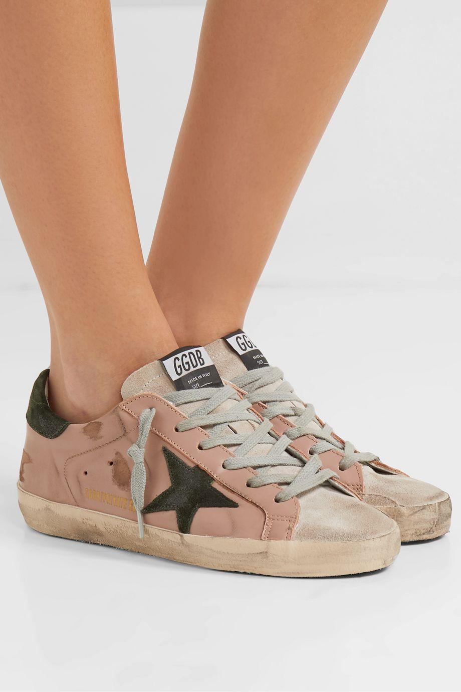 Golden Goose Superstar Sneakers aus Leder und Veloursleder in Distressed-Optik