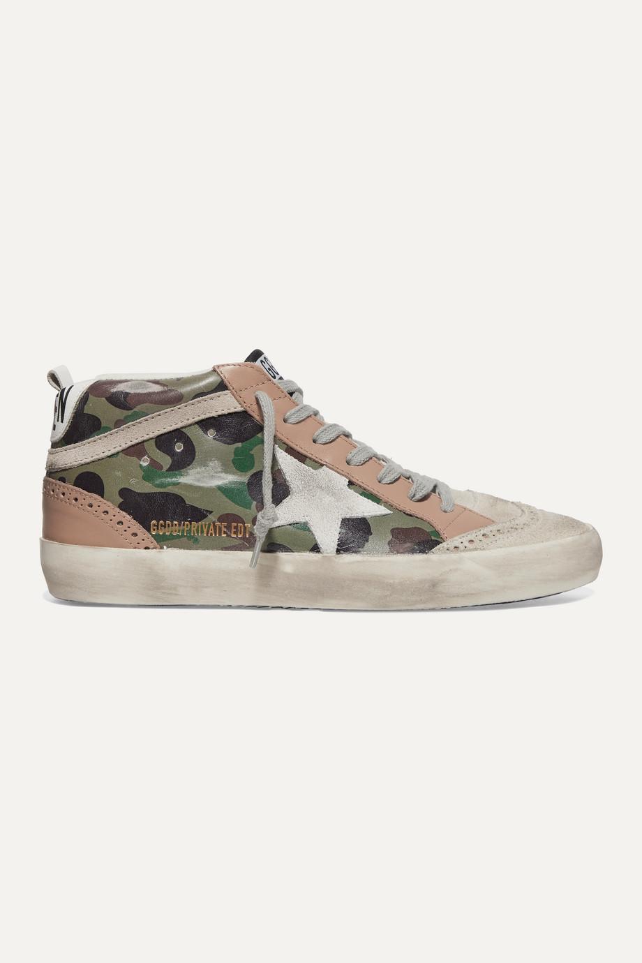 Golden Goose Mid Star Sneakers aus Leder und Veloursleder mit Camouflage-Print in Distressed-Optik