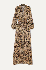 Piera bow-detailed leopard-print hammered silk-satin gown