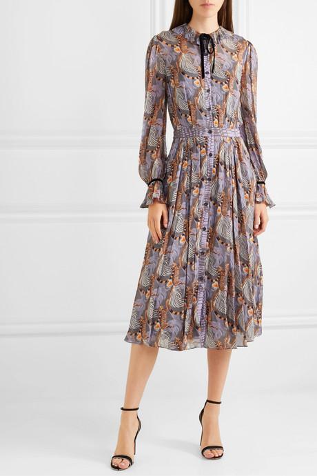 Maggie velvet-trimmed printed georgette midi dress
