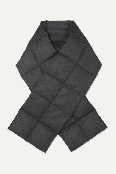 Dries Van Noten Accessories Felice quilted pinstriped herringbone wool down scarf
