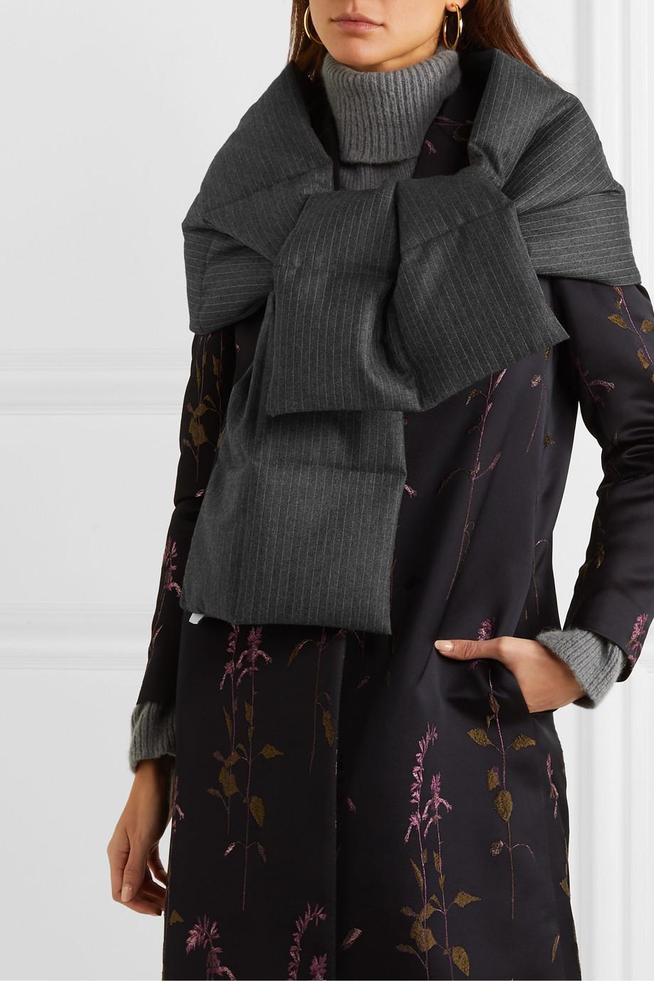 Dries Van Noten Felice 绗缝细条纹人字纹羊毛羽绒围巾
