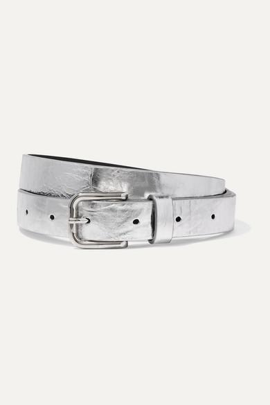 Dries Van Noten Belts Metallic crinkled-leather belt