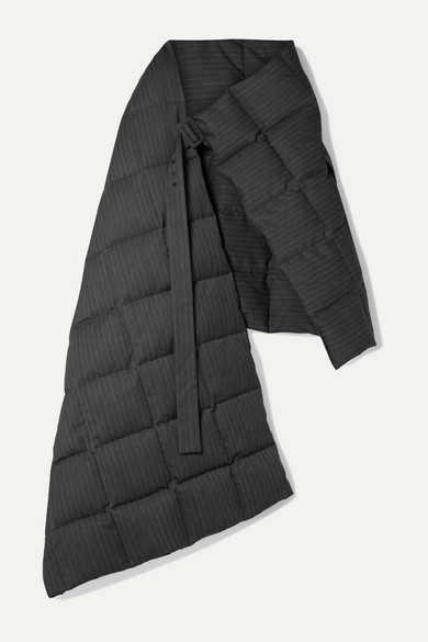 Dries Van Noten Accessories Gil oversized quilted pinstriped twill down wrap