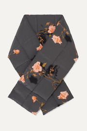 Floral-print quilted wool wrap