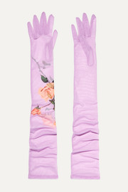 드리스 반 노튼 글러브 Dries Van Noten Floral-print stretch-tulle gloves